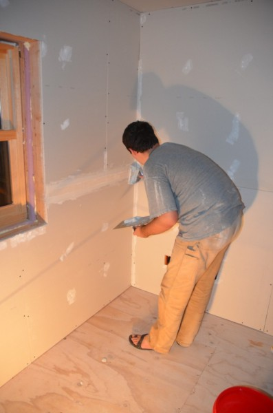 Taping the drywall seams